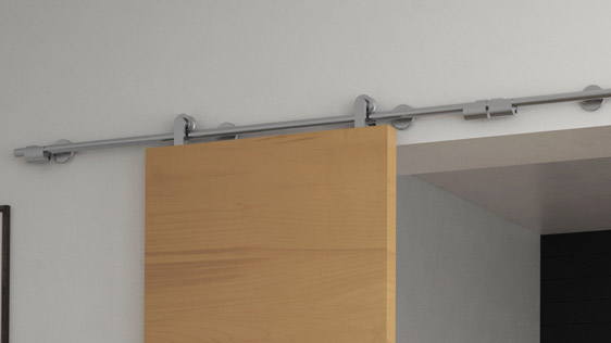DOUBLE DOOR WOOD ON WALL - SATIN STAINLESS STEEL AISI 304 - SOFT-BLOCK SYSTEM