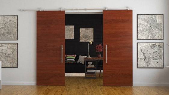 DOUBLE DOOR WOOD ON WALL - SATIN STAINLESS STEEL AISI 304 - STANDARD SYSTEM
