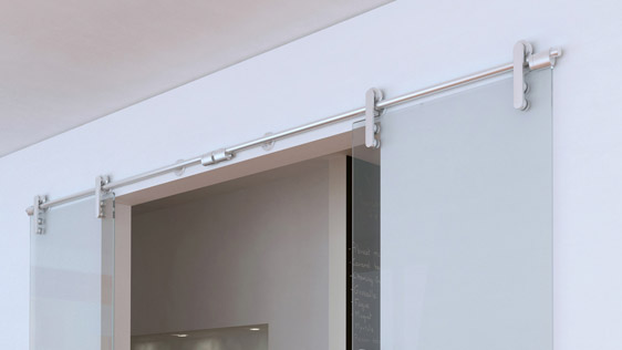 DOUBLE DOOR GLASS ON WALL - SATIN STAINLESS STEEL AISI 304 - SOFT-BLOCK SYSTEM