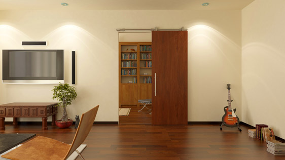 SINGLE DOOR WOOD ON WALL - SATIN STAINLESS STEEL AISI 304 - SOFT-BLOCK SYSTEM