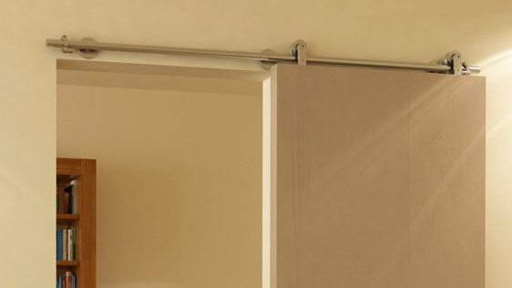SINGLE DOOR WOOD ON WALL - SATIN STAINLESS STEEL AISI 304 - STANDARD SYSTEM